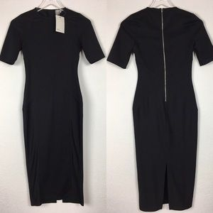 ASOS Black Short Sleeve Knee Length Bodycon Dress